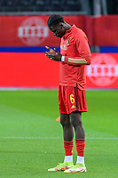 Amadou Onana (6) of Belgium pictured before a soccer game between the national teams Under21 Youth teams of Belgium and Denmark on the fourth matday in group I for the qualification for the Under 21 EURO 2023 , on tuesday 12 th of october 2021  in Leuven , Belgium . PHOTO SPORTPIX   STIJN AUDOOREN