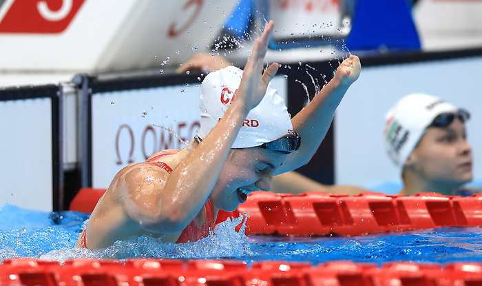 TOKYO, JAPAN - AUGUST 28: Aurelie Rivard of Canada reacts after winning the gold medal in a new world record time in the Women's 100m Freestyle - S10 Final on day 4 of the Tokyo 2020 Paralympic Games at Tokyo Aquatics Centre on August 28, 2021 in Tokyo, Japan. (Photo by Buda Mendes/Getty Images)