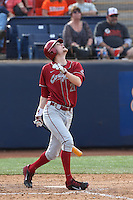 Jason Monda #21 of the Washington State Cougars bats against the Cal State Fullerton Titans at Goodwin Field on  February 15, 2014 in Fullerton, California. Washington State defeated Fullerton, 9-7. (Larry Goren/Four Seam Images)