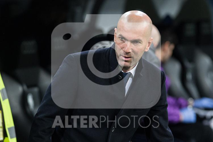 Zinedine Zidane coach  of Real Madrid  during the match of Spanish La Liga between Real Madrid and UD Las Palmas at  Santiago Bernabeu Stadium in Madrid, Spain. March 01, 2017. (ALTERPHOTOS / Rodrigo Jimenez)