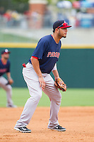Pawtucket Red Sox third baseman Carlos Rivero (24) on defense against the Charlotte Knights at BB&T Ballpark on August 10, 2014 in Charlotte, North Carolina.  The Red Sox defeated the Knights  6-4.  (Brian Westerholt/Four Seam Images)