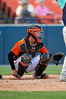 Frederick Keys catcher Stuart Levy (18) waits to receive a pitch during the first game of a doubleheader against the Lynchburg Hillcats on June 12, 2018 at Nymeo Field at Harry Grove Stadium in Frederick, Maryland.  Frederick defeated Lynchburg 2-1.  (Mike Janes/Four Seam Images)