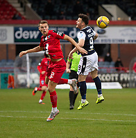 19th December 2020; Dens Park, Dundee, Scotland; Scottish Championship Football, Dundee FC versus Dunfermline; Lewis Mayo of Dunfermline Athletic competes in the air with Danny Mullen of Dundee