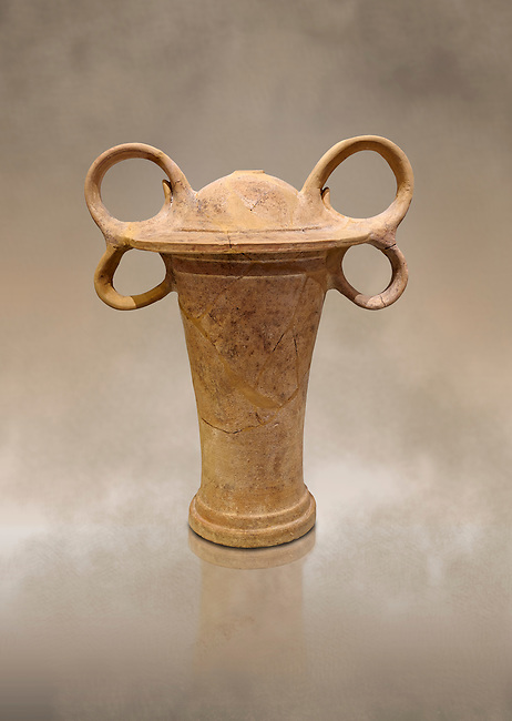 Minoan clay ritual vessel with figure of eight handles, Tomb of the Double Axes, Isopata 1450-1300 BC, Heraklion Archaeological Museum.