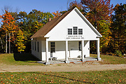 Bridgewater Meeting House (c. 1806) in Bridgewater New Hampshire USA during the autumn months.