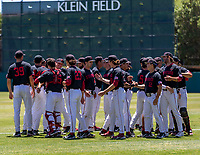 STANFORD, CA - JUNE 4: Team meeting before a game between North Dakota State and Stanford Baseball at Sunken Diamond on June 4, 2021 in Stanford, California.