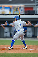 Nick Sinay (6) of the Bluefield Blue Jays at bat against the Burlington Royals at Burlington Athletic Stadium on June 27, 2016 in Burlington, North Carolina.  The Royals defeated the Blue Jays 9-4.  (Brian Westerholt/Four Seam Images)
