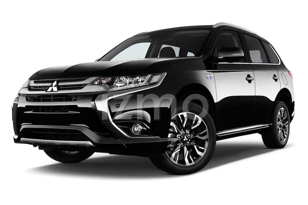 Stock pictures of low aggressive front three quarter view of 2016 Mitsubishi Outlander Phev PHEV 5 Door Suv Low Aggressive
