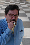 Paco Ignacio Taibo II poses to promote his book..