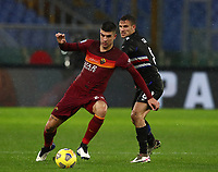 Football, Serie A: AS Roma - Sampdoria calcio, Olympic stadium, Rome, January 3, 2021. <br /> Roma's Gianluca Mancini (l) in action with Sampdoria's Valerio Verre (r) during the Italian Serie A football match between Roma and Sampdoria at Rome's Olympic stadium, on January 3, 2021.  <br /> UPDATE IMAGES PRESS/Isabella Bonotto