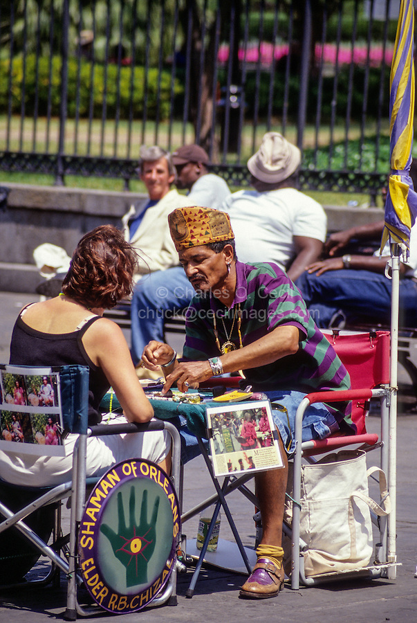 French Quarter, New Orleans, Louisiana.  Fortune Teller with Client, Jackson Square.