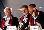 Hans Backe (Red Bull coach), Dietmar Beiersdorfer (Head of Red Bull Global Soccer),  Thierry Henry. .Thierry Henry press conference at Red Bull Arena, Harrison, New Jersey, 07152010
