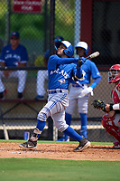 Toronto Blue Jays Adrian Montero (14) bats during an Extended Spring Training game against the Philadelphia Phillies on June 12, 2021 at the Carpenter Complex in Clearwater, Florida. (Mike Janes/Four Seam Images)