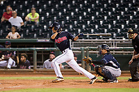 AZL Indians shortstop Tyler Freeman (7) follows through on his swing against the AZL Padres on August 30, 2017 at Goodyear Ball Park in Goodyear, Arizona. AZL Padres defeated the AZL Indians 7-6. (Zachary Lucy/Four Seam Images)
