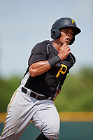 Pittsburgh Pirates Calvin Mitchell (15) runs the bases during an Instructional League intrasquad black and gold game on October 6, 2017 at Pirate City in Bradenton, Florida.  (Mike Janes/Four Seam Images)