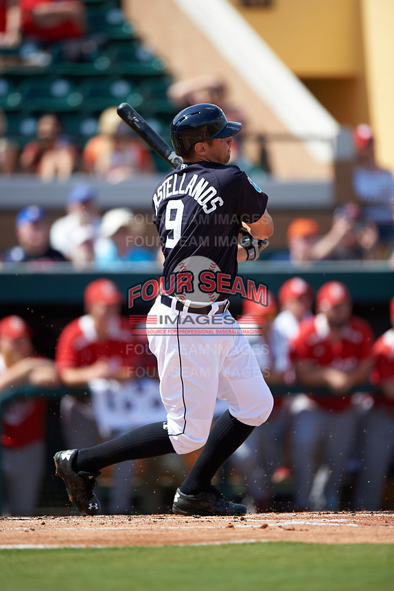 Detroit Tigers third baseman Nick Castellanos (9) at bat during an exhibition game against the Florida Southern Moccasins on February 29, 2016 at Joker Marchant Stadium in Lakeland, Florida.  Detroit defeated Florida Southern 7-2.  (Mike Janes/Four Seam Images)