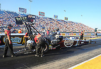 Jul, 8, 2011; Joliet, IL, USA: NHRA top fuel dragster crew members for driver Del Worsham during qualifying for the Route 66 Nationals at Route 66 Raceway. Mandatory Credit: Mark J. Rebilas-
