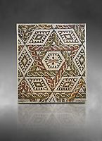 Pictures of a geometric Roman mosaics with a hexagon at its centre in the middle of which is a cruciform of flowers, from the ancient Roman city of Thysdrus, house in the M'Barek R'Haiem area. Begining of 3rd century AD. El Djem Archaeological Museum, El Djem, Tunisia. Against a grey background