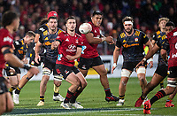 Will Jordan passes during the 2021 Super Rugby Aotearoa final between the Crusaders and Chiefs at Orangetheory Stadium in Christchurch, New Zealand on Saturday, 8 May 2021. Photo: Joe Johnson / lintottphoto.co.nz