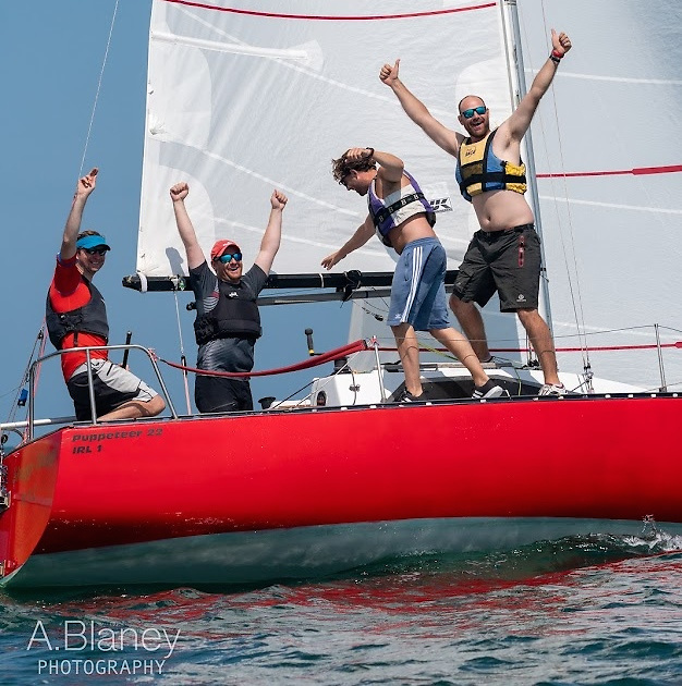 Paul McMahon and his winning crew have just crossed the final line….. In the weeks ahead, it may take a real effort of memory to recall that for a magic time in 2021, we sailed in temperatures like this. Photo: Annraois Blaney