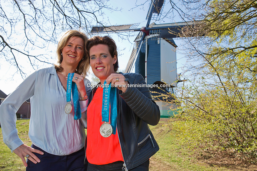 April 18, 2015, Netherlands, Den Bosch, Maaspoort, Fedcup Netherlands-Australia, Olympic  Silver Medals winners Mirjam Oremans and Kristie Boogert (L)<br /> Photo: Tennisimages/Henk Koster