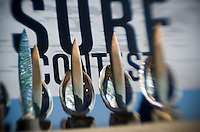 The 2008 Mavericks Surf Contest trophies on display before the awards presentation on the beach in Half Moon Bay, Calif., Saturday, January 12, 2008...Photo by David Calvert/isiphotos.com