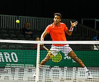 Rotterdam, The Netherlands, 9 Februari 2020, ABNAMRO World Tennis Tournament, Ahoy, Doubles: Felix Auger-Aliassime (CAN).<br /> Photo: www.tennisimages.com