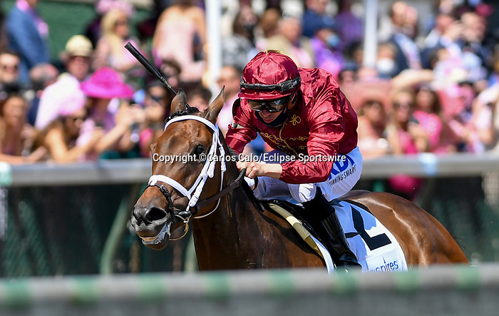 April 30, 2021 : Shedaresthedevil, #2, ridden by jockey Florent Geroux wins the La Troienne Stakes on Kentucky Oaks Day at Churchill Downs on April 30, 2021 in Louisville, Kentucky. Carlos Calo/Eclipse Sportswire/CSM