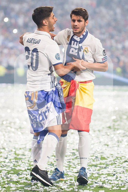 Real Madrid Marco Asensio and Alvaro Morata during the celebration of the 13th UEFA Championship at Santiago Bernabeu Stadium in Madrid, June 04, 2017. Spain.<br /> (ALTERPHOTOS/BorjaB.Hojas)
