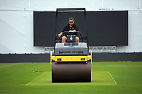 Basin Reserve head groundsman Hagen Faith rolls the wicket. The Black Caps train for the International Test Cricket match between the New Zealand Black Caps and West Indies at the Basin Reserve in Wellington, New Zealand on Wednesday, 9 December 2020. Photo: Dave Lintott / lintottphoto.co.nz