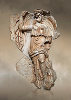 Roman Sebasteion relief sculpture of the goddess Herma (day), Aphrodisias Museum, Aphrodisias, Turkey. Against an art background.<br /> <br /> Goddess  Herma or Day steadies a dramatically billowing cloak that frames her head. The motif , also visible on the Okeanos relief, indicates flying, floating and divine epiphany - the appearance of gods to mortals. Day would be paired with night : together they signify the eternity of the Roman imperial order.