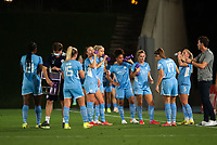 31st August 2021; Estadio Afredo Di Stefano, Madrid, Spain; Women's Champions League, Real Madrid CF versus Manchester City Football Club; Manchester City team during a water break