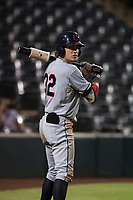 AZL Indians 2 shortstop Raynel Delgado (32) on deck during an Arizona League game against the AZL Angels at Tempe Diablo Stadium on June 30, 2018 in Tempe, Arizona. The AZL Indians 2 defeated the AZL Angels by a score of 13-8. (Zachary Lucy/Four Seam Images)