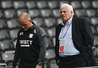 Preston North End manager Alex Neil  talks to Peter Ridsdale<br /> <br /> Photographer Mick Walker/CameraSport<br /> <br /> Carabao Cup Second Round Northern Section - Derby County v Preston North End - Tuesday 15th September 2020 - Pride Park Stadium - Derby<br />  <br /> World Copyright © 2020 CameraSport. All rights reserved. 43 Linden Ave. Countesthorpe. Leicester. England. LE8 5PG - Tel: +44 (0) 116 277 4147 - admin@camerasport.com - www.camerasport.com