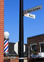Barbier emporium dans Le quartier Mile-ex sur Montreal, Canada.<br /> <br /> <br /> Photo : Pierre Roussel - Agence Quebec Presse