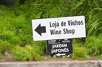 Sign to the wine shop and Japanese garden. Bacalhoa Vinhos, Azeitao, Portugal