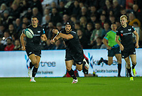 8th October 2021;  Swansea.com Stadium, Swansea, Wales; United Rugby Championship, Ospreys versus Sharks; Dan Evans of Ospreys passes the ball out