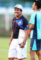 Costa Rica coach Jorge Luis Pinto laughs during the training session ahead of tomorrow's match vs Greece