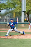 Los Angeles Dodgers relief pitcher Bryan Warzek (40) delivers a pitch during an Instructional League game against the Oakland Athletics at Camelback Ranch on September 27, 2018 in Glendale, Arizona. (Zachary Lucy/Four Seam Images)
