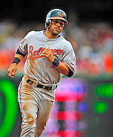 24 May 2009: Baltimore Orioles' second baseman Brian Roberts rounds the bases after an Adam Jones homer during a game against the Washington Nationals at Nationals Park in Washington, DC. The Nationals rallied to defeat the Orioles 8-5 and salvage a win in their interleague series. Mandatory Credit: Ed Wolfstein Photo