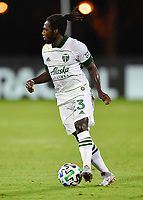 LAKE BUENA VISTA, FL - AUGUST 01: Yimmi Chará #23 of the Portland Timbers dribbles the ball during a game between Portland Timbers and New York City FC at ESPN Wide World of Sports on August 01, 2020 in Lake Buena Vista, Florida.