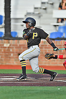 Bristol Pirates right fielder Luis Benitez (54) swings at a pitch during a game against the Johnson City Cardinals at TVA Credit Union Ballpark on June 23, 2017 in Johnson City, Tennessee. The Pirates defeated the Cardinals 4-3. (Tony Farlow/Four Seam Images)