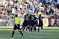 STANFORD, CA - JUNE 29: Vako #11 celebrates scoring during a Major League Soccer (MLS) match between the San Jose Earthquakes and the LA Galaxy on June 29, 2019 at Stanford Stadium in Stanford, California.