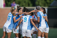 Allston, MA - Saturday August 19, 2017: Alex Morgan, Orlando Pride celebrate their second goal during a regular season National Women's Soccer League (NWSL) match between the Boston Breakers and the Orlando Pride at Jordan Field.