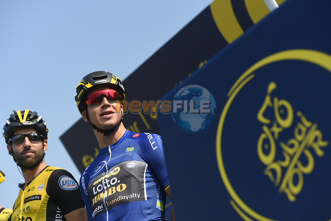 Race leader Dylan Groenewegen (NED) Team Lotto NL-Jumbo at sign on before the start of Stage 3 The Silicon Oasis Stage of the Dubai Tour 2018 the Dubai Tour's 5th edition, running 180km from Skydive Dubai to Fujairah, Dubai, United Arab Emirates. 7th February 2018.<br /> Picture: LaPresse/Fabio Ferrari   Cyclefile<br /> <br /> <br /> All photos usage must carry mandatory copyright credit (© Cyclefile   LaPresse/Fabio Ferrari)