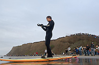 Ryan Seelbach on shore before paddling out to the jet ski during the first round of the 2008 Mavericks Surf Contest in Half Moon Bay, Calif., Saturday, January 12, 2008...Photo by David Calvert/isiphotos.com