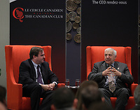 """Montreal (Qc) CANADA - June 4 2013 - Canadian Club  PANEL """"Leadership challenges in family businesses"""" featuring<br /> Andrew Molson, Vice-Chairman of the Board - Molson Coors Brewing Company<br /> Chairman - RES PUBLICA Consulting Group (L),  Alain Lemaire<br /> Executive Chairman of the Board - Cascades Inc.  (M) and Stephen R. Bronfman<br /> Executive Chairman - Claridge Inc."""