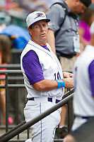 Winston-Salem Dash coach Vance Law (20) watches the action from the dugout during the Carolina League game against the Frederick Keys at BB&T Ballpark on July 21, 2013 in Winston-Salem, North Carolina.  The Dash defeated the Keys 3-2.  (Brian Westerholt/Four Seam Images)