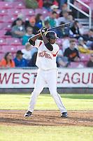 July 7, 2009: Salem-Keizer Volcanoes' Francisco Peguero at-bat during a Northwest League game against the Tri-City Dust Devils at Volcanoes Stadium in Salem, Oregon.