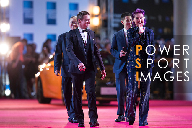 Actor Jeremy Renner and Miriam Yeung walk the Red Carpet event at the World Celebrity Pro-Am 2016 Mission Hills China Golf Tournament on 20 October 2016, in Haikou, China. Photo by Victor Fraile / Power Sport Images